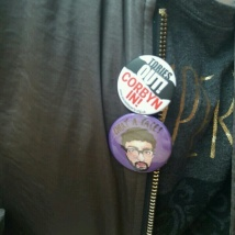 Vijay badge and Anti-Tory badge